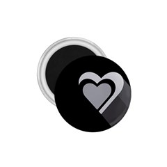 Heart Love Black And White Symbol 1 75  Magnets by Celenk