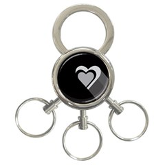 Heart Love Black And White Symbol 3 Ring Key Chains by Celenk