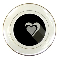 Heart Love Black And White Symbol Porcelain Plates by Celenk