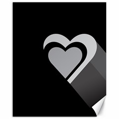 Heart Love Black And White Symbol Canvas 16  X 20   by Celenk