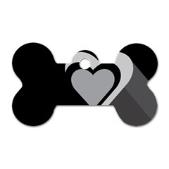 Heart Love Black And White Symbol Dog Tag Bone (one Side)