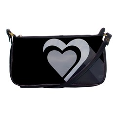 Heart Love Black And White Symbol Shoulder Clutch Bags by Celenk