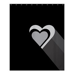 Heart Love Black And White Symbol Shower Curtain 60  X 72  (medium)  by Celenk