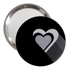 Heart Love Black And White Symbol 3  Handbag Mirrors by Celenk