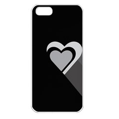 Heart Love Black And White Symbol Apple Iphone 5 Seamless Case (white) by Celenk