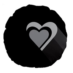 Heart Love Black And White Symbol Large 18  Premium Round Cushions by Celenk