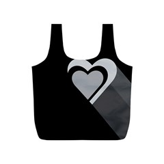 Heart Love Black And White Symbol Full Print Recycle Bags (s)  by Celenk