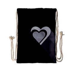 Heart Love Black And White Symbol Drawstring Bag (small) by Celenk