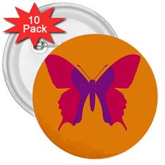 Butterfly Wings Insect Nature 3  Buttons (10 Pack)  by Celenk