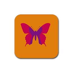 Butterfly Wings Insect Nature Rubber Square Coaster (4 Pack)