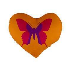 Butterfly Wings Insect Nature Standard 16  Premium Flano Heart Shape Cushions by Celenk