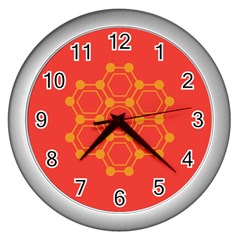 Pentagon Cells Chemistry Yellow Wall Clocks (silver)