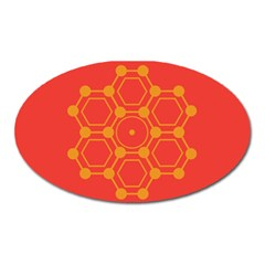 Pentagon Cells Chemistry Yellow Oval Magnet