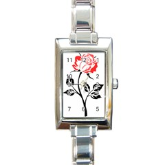 Flower Rose Contour Outlines Black Rectangle Italian Charm Watch