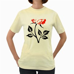 Flower Rose Contour Outlines Black Women s Yellow T Shirt