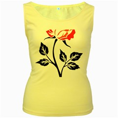 Flower Rose Contour Outlines Black Women s Yellow Tank Top by Celenk