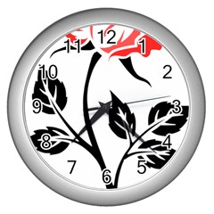 Flower Rose Contour Outlines Black Wall Clocks (silver)  by Celenk