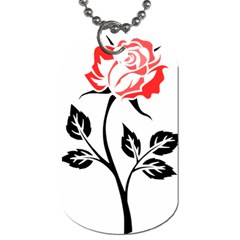 Flower Rose Contour Outlines Black Dog Tag (two Sides)