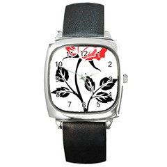 Flower Rose Contour Outlines Black Square Metal Watch by Celenk