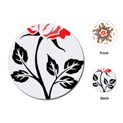 Flower Rose Contour Outlines Black Playing Cards (round)