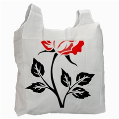 Flower Rose Contour Outlines Black Recycle Bag (two Side)  by Celenk