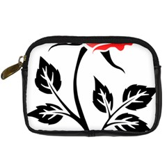 Flower Rose Contour Outlines Black Digital Camera Cases by Celenk