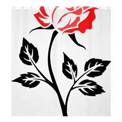 Flower Rose Contour Outlines Black Shower Curtain 66  X 72  (large)  by Celenk