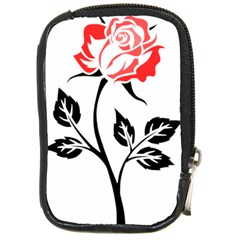 Flower Rose Contour Outlines Black Compact Camera Cases by Celenk