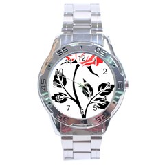 Flower Rose Contour Outlines Black Stainless Steel Analogue Watch by Celenk