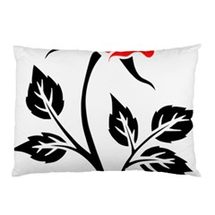 Flower Rose Contour Outlines Black Pillow Case (two Sides)