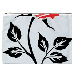 Flower Rose Contour Outlines Black Cosmetic Bag (xxl)  by Celenk