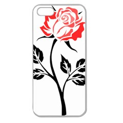 Flower Rose Contour Outlines Black Apple Seamless Iphone 5 Case (clear) by Celenk