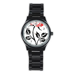 Flower Rose Contour Outlines Black Stainless Steel Round Watch by Celenk