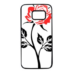 Flower Rose Contour Outlines Black Samsung Galaxy S7 Black Seamless Case