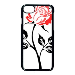 Flower Rose Contour Outlines Black Apple Iphone 7 Seamless Case (black) by Celenk