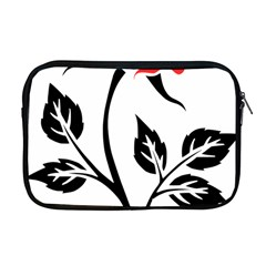 Flower Rose Contour Outlines Black Apple Macbook Pro 17  Zipper Case by Celenk