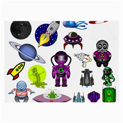 Space Clip Art Aliens Space Craft Large Glasses Cloth (2 Side)