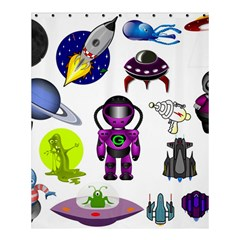 Space Clip Art Aliens Space Craft Shower Curtain 60  X 72  (medium)  by Celenk