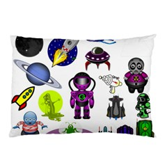 Space Clip Art Aliens Space Craft Pillow Case (two Sides)