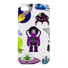 Space Clip Art Aliens Space Craft Apple Iphone 4/4s Premium Hardshell Case by Celenk
