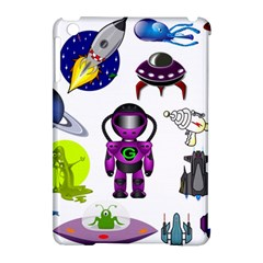 Space Clip Art Aliens Space Craft Apple Ipad Mini Hardshell Case (compatible With Smart Cover) by Celenk