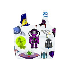 Space Clip Art Aliens Space Craft Full Print Recycle Bags (s)  by Celenk