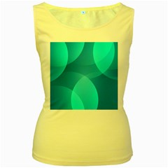 Abstract Blue Wallpaper Wave Women s Yellow Tank Top by Celenk