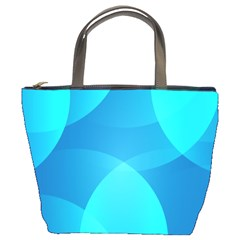 Abstract Blue Wallpaper Wave Bucket Bags