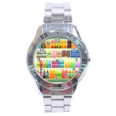 Supermarket Shelf Products Snacks Stainless Steel Analogue Watch by Celenk