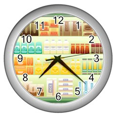 Supermarket Shelf Coffee Tea Grains Wall Clocks (silver)