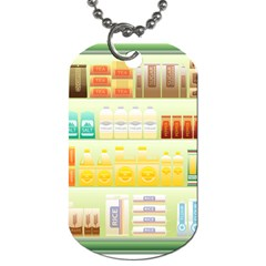 Supermarket Shelf Coffee Tea Grains Dog Tag (two Sides) by Celenk