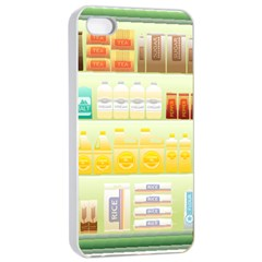 Supermarket Shelf Coffee Tea Grains Apple Iphone 4/4s Seamless Case (white) by Celenk