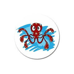 Octopus Sea Ocean Cartoon Animal Magnet 3  (round) by Celenk