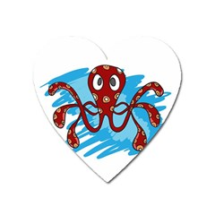 Octopus Sea Ocean Cartoon Animal Heart Magnet by Celenk